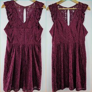 Burgundy BCBGeneration Lace Detail Dress